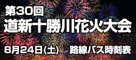 第30回 道新十勝川花火大会会場行きバスのご案内