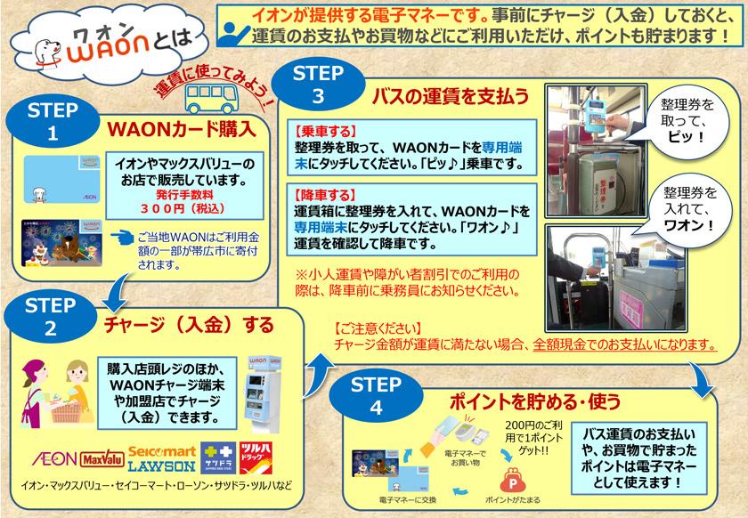 """您可以在自卫队稻田线和带广大学行使用电子货币""""WAON"""""""