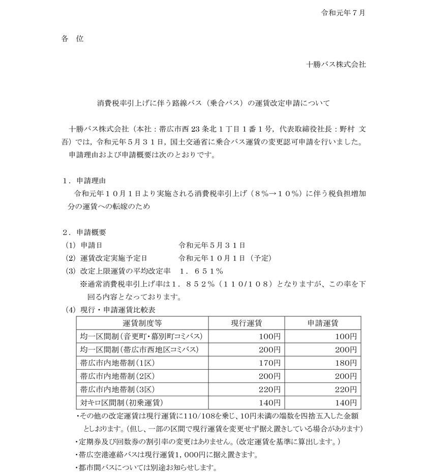 The revised application of vans bus fare due to the consumption tax hike