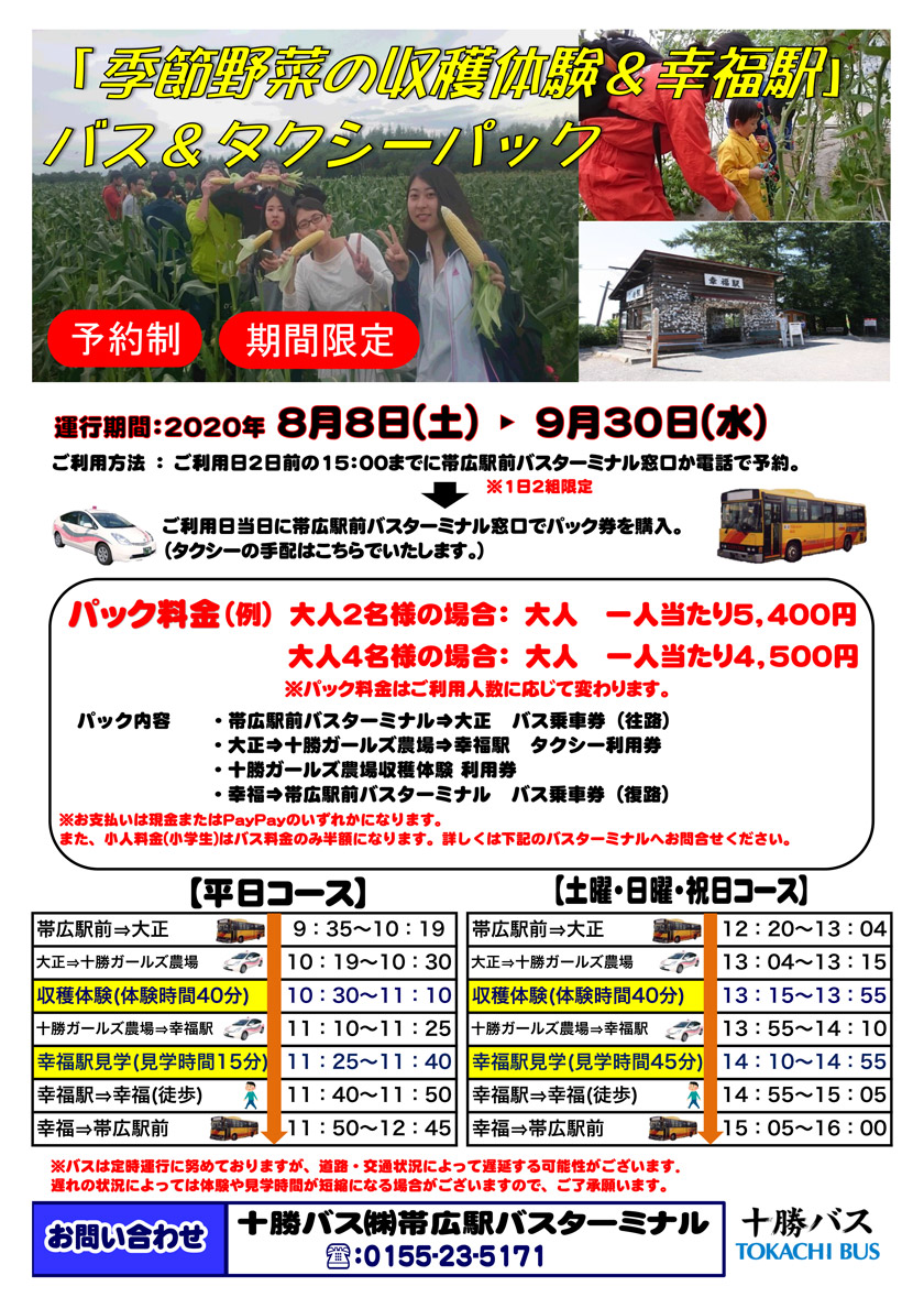 """Seasonal Vegetable Harvest Experience & Happiness Station"" Bus & Taxi Pack"
