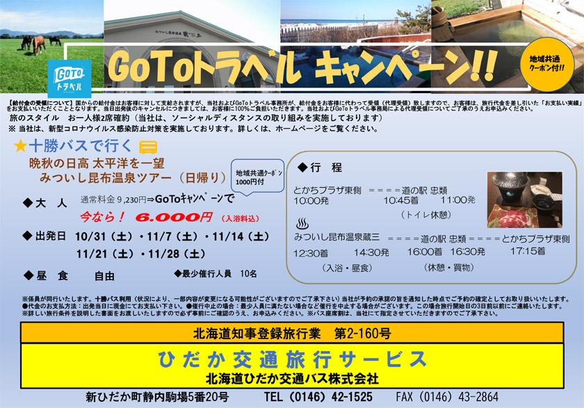 【GoToトラベルキャンペーン】晩秋の日高 太平洋を一望 みついし昆布温泉ツアー(日帰り)